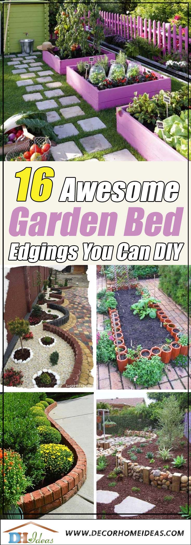 DIY Garden Bed Edgings #garden #gardenbed #edging #decorhomeideas