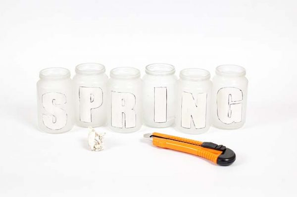 DIY Spring Centerpiece Letters Cut Out