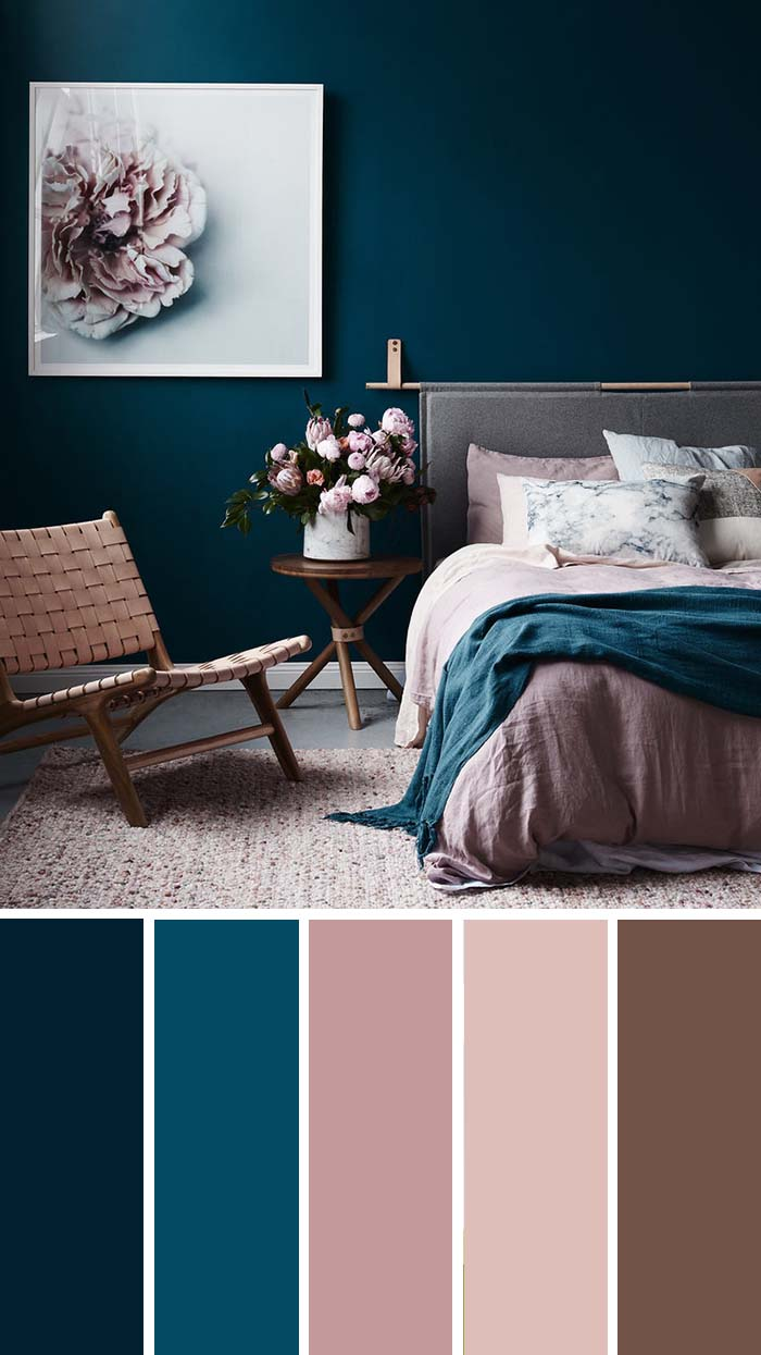 Dark Teal Dusty Rose Bedroom Color Scheme SW Color Names Included #bedroom #color #scheme #decorhomeideas #colorchart