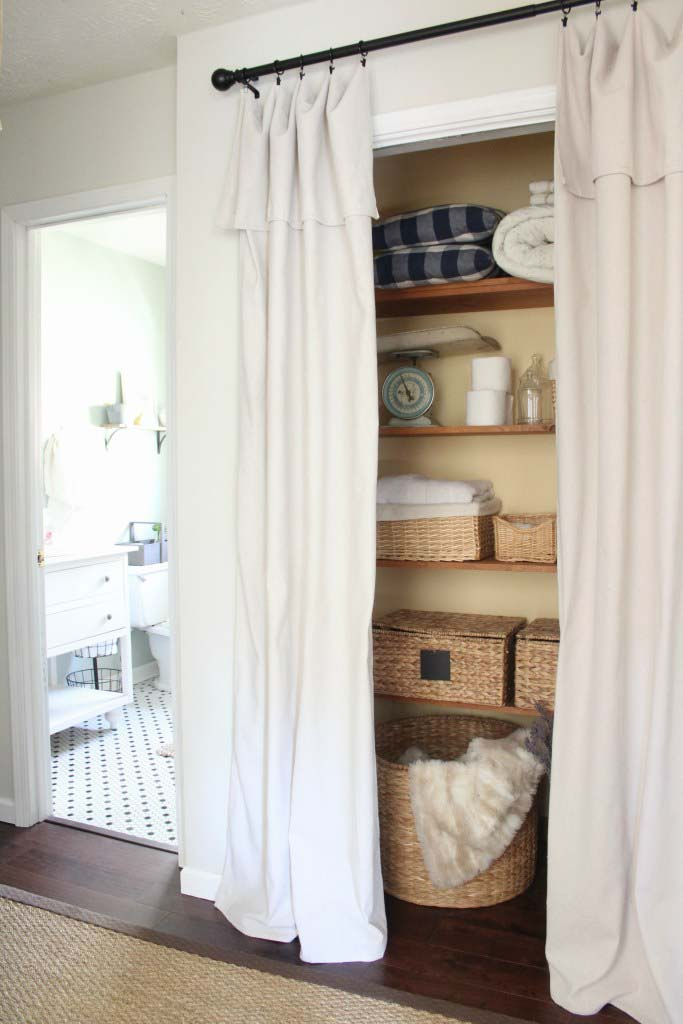 Drop Cloth Curtain Closet Door #closet #curtain #homedecor #decorhomeideas