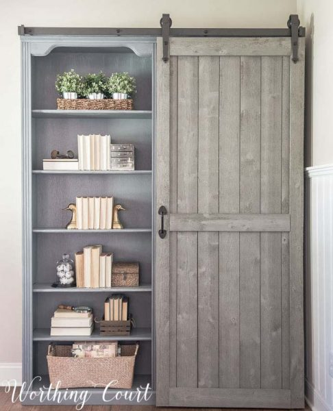 Farmhouse Closet With Sliding Barn Door