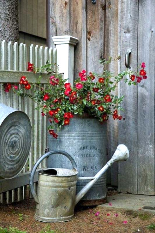 Galvanized Items As Vintage Garden Planters #garden #planters #vintage #decorhomeideas