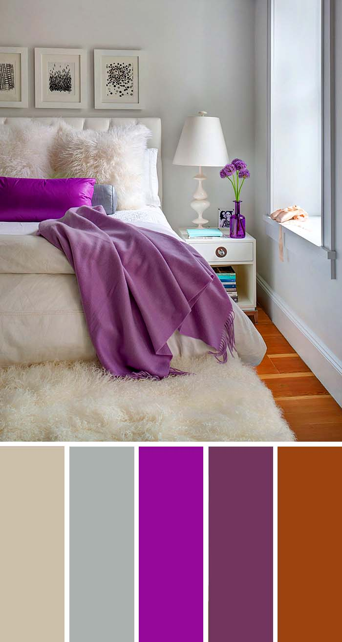 Gray Cream Purple Bedroom Color Scheme SW Color Names Included #bedroom #color #scheme #decorhomeideas #colorchart