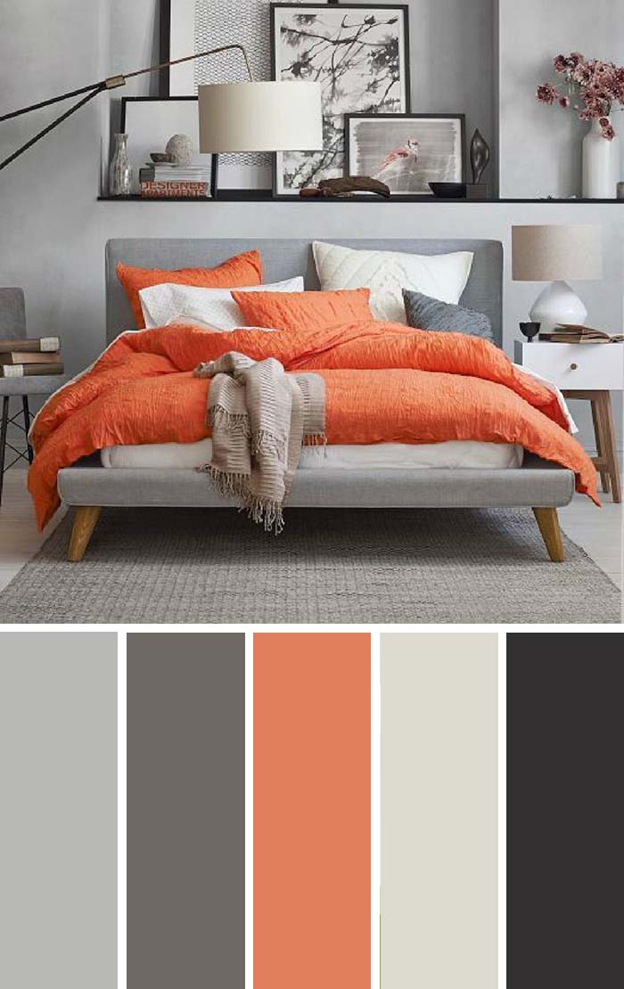 Gray Orange Bedroom Color Scheme SW Color Names Included #bedroom #color #scheme #decorhomeideas #colorchart