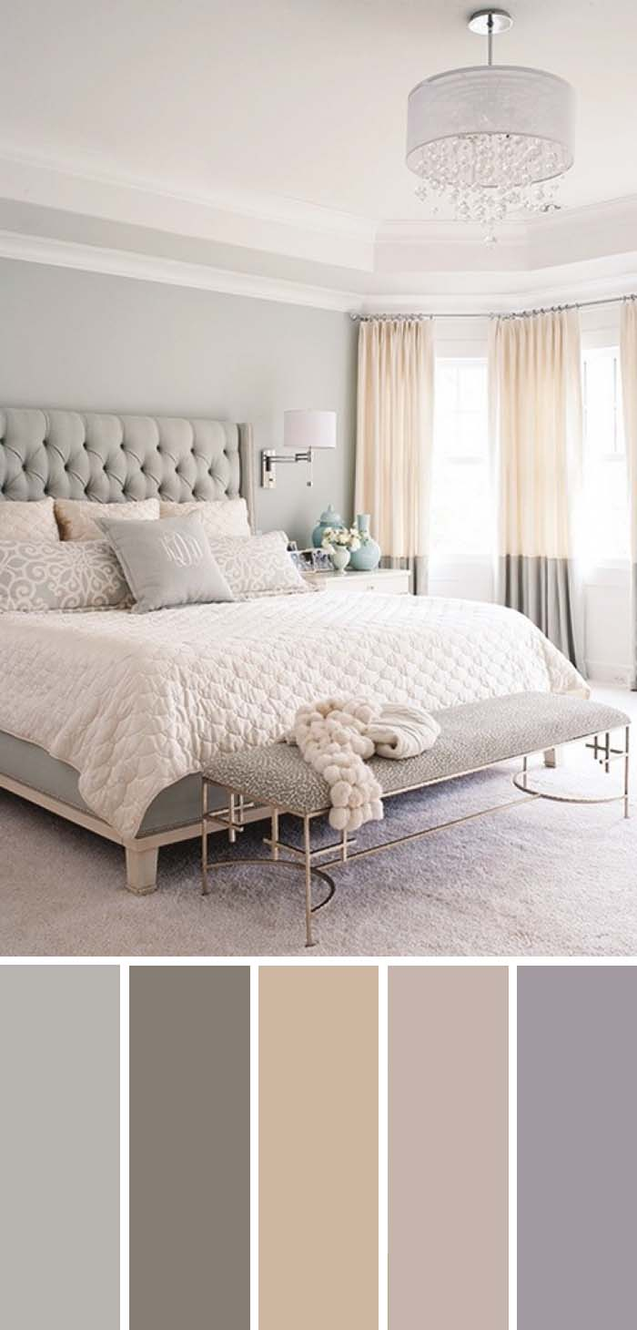 Gray White Beige Neutral Bedroom Color Scheme SW Color Names Included #bedroom #color #scheme #decorhomeideas #colorchart
