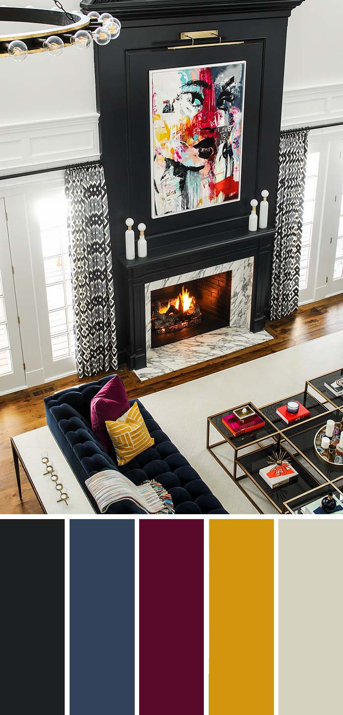 Living Room Dark Accent Color Scheme #paintcolor #livingroom #colorscheme #decorhomeideas