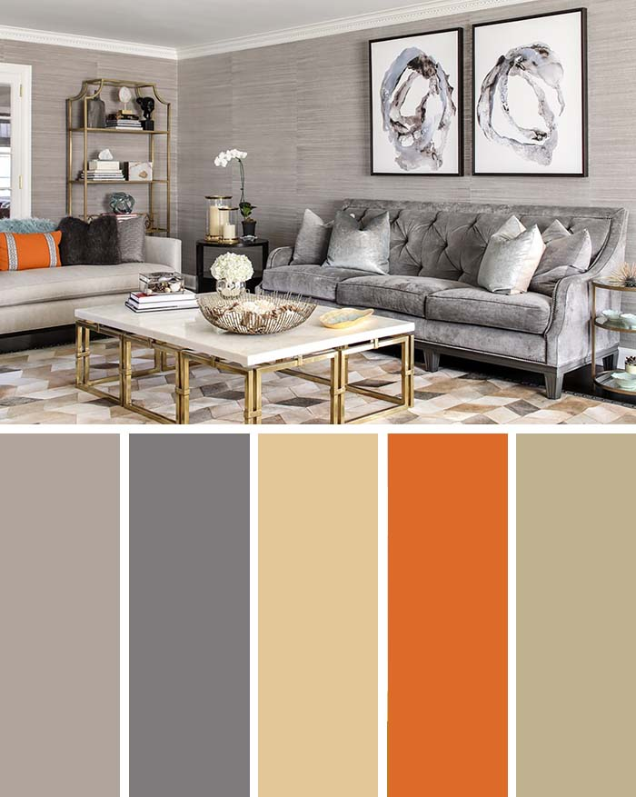 Living Room Golden Accent Color Scheme #paintcolor #livingroom #colorscheme #decorhomeideas