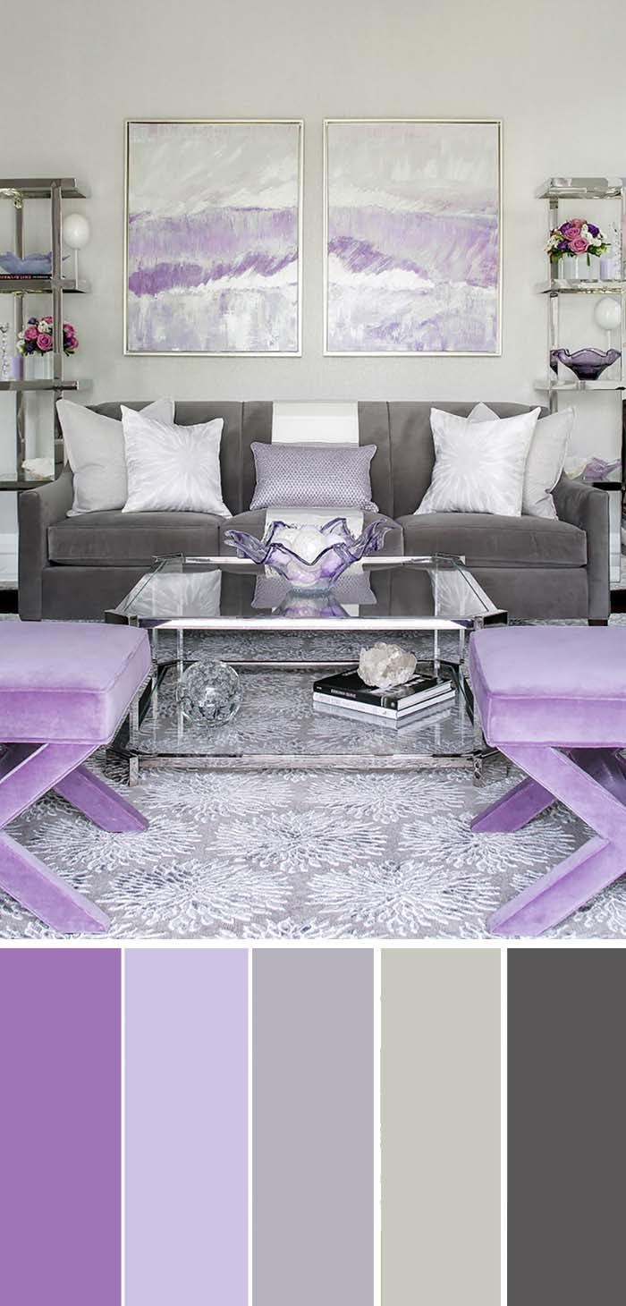 Living Room Purple Accent Color Scheme #paintcolor #livingroom #colorscheme #decorhomeideas