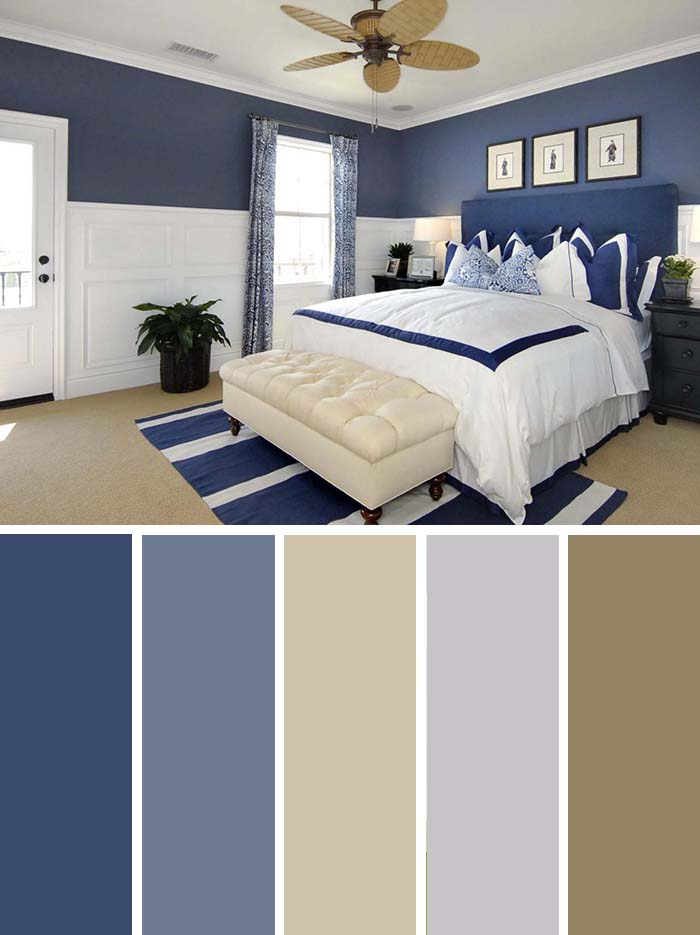 Navy Blue Bedroom Color Scheme SW Color Names Included #bedroom #color #scheme #decorhomeideas #colorchart