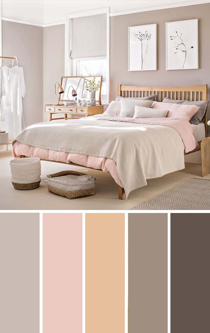 Pale Pink Taupe Bedroom Color Scheme SW Color Names Included #bedroom #color #scheme #decorhomeideas #colorchart