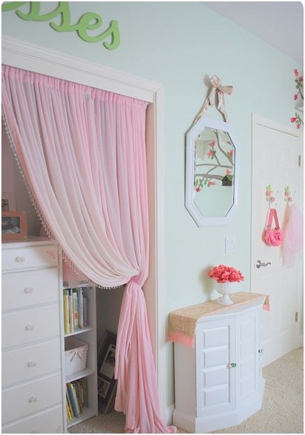 Pink Velvet Curtain Closet Door #closet #curtain #homedecor #decorhomeideas