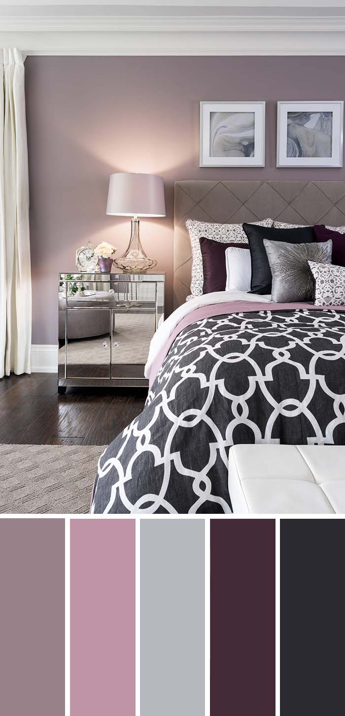 Plum Lavender Silver Bedroom Color Scheme #bedroom #silver #decorhomeideas