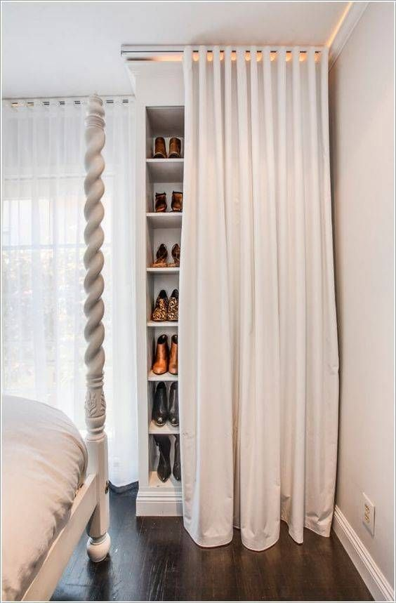 Shoe Closet Curtain Idea #closet #curtain #homedecor #decorhomeideas