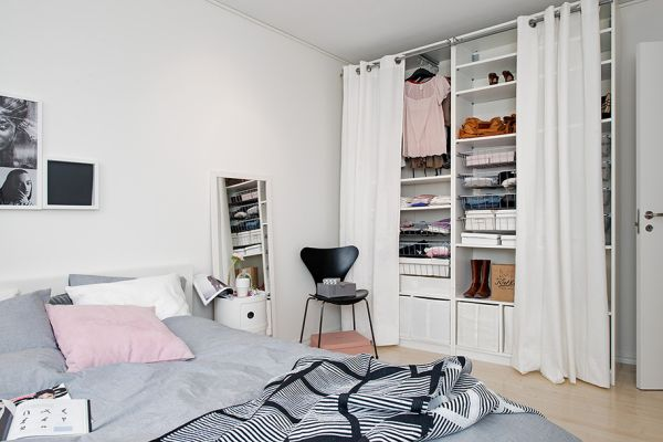 Simple Curtain Closet Door Idea #closet #curtain #homedecor #decorhomeideas
