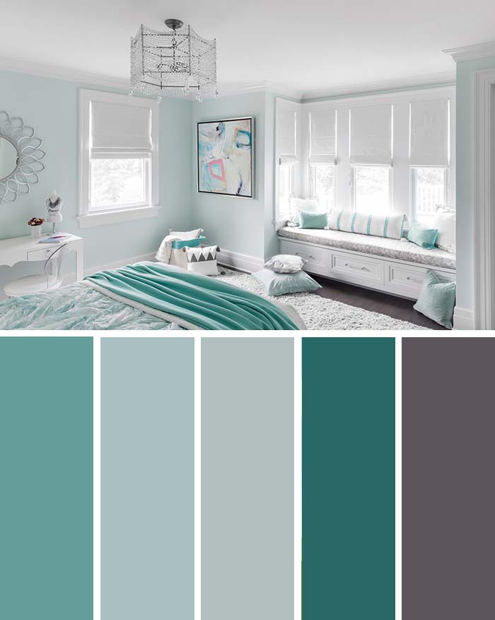 Turquoise White Bedroom Color Scheme SW Color Names Included #bedroom #color #scheme #decorhomeideas #colorchart