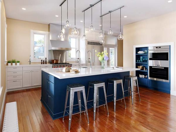 Modern Blue Kitchen With Kitchen Island