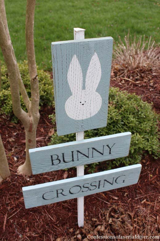 Bunny Crossing Sign Board #easter #decoration #spring #diy #decorhomeideas