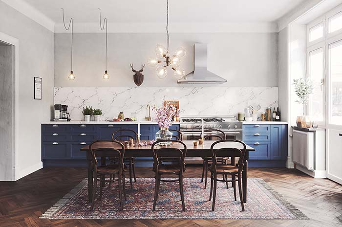 Blue kitchen with dining room