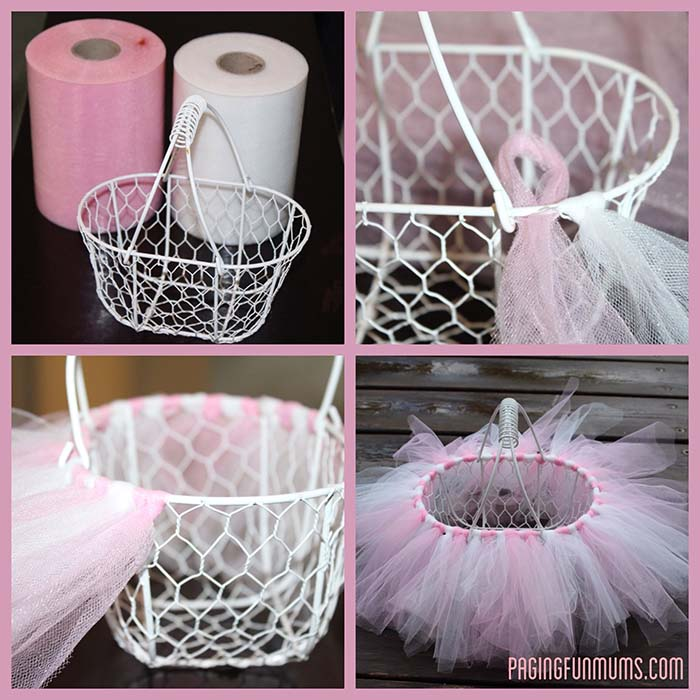 DIY Easter Tutu Basket #easter #crafts #diy #decorhomeideas
