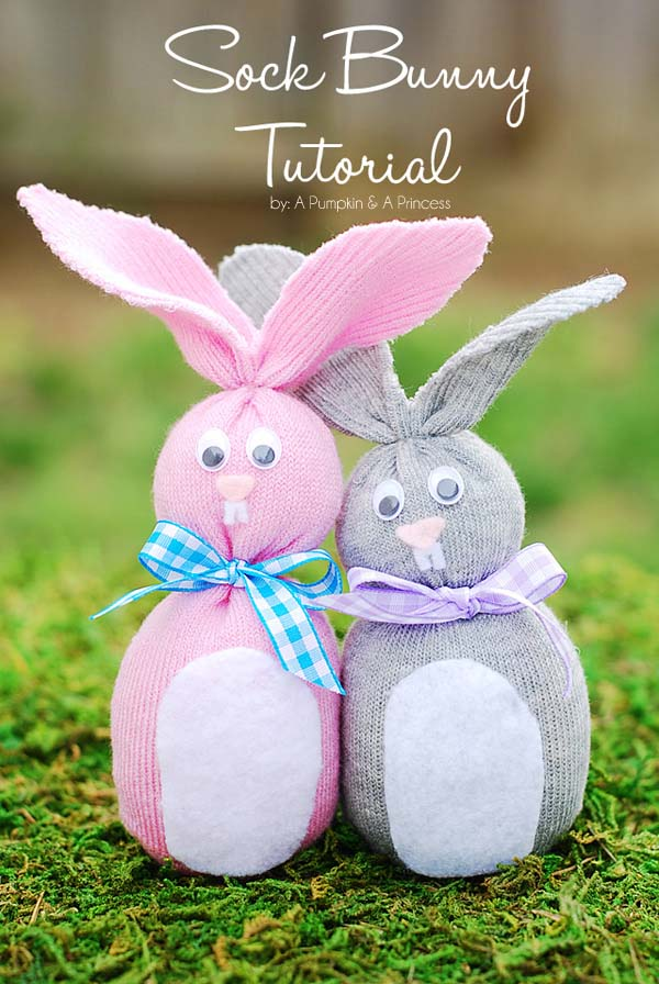DIY Sock Easter Bunny #easter #crafts #diy #decorhomeideas