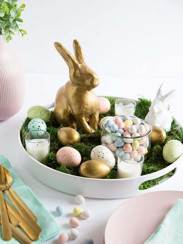Easter Bunny Centerpiece #easter #decoration #spring #diy #decorhomeideas