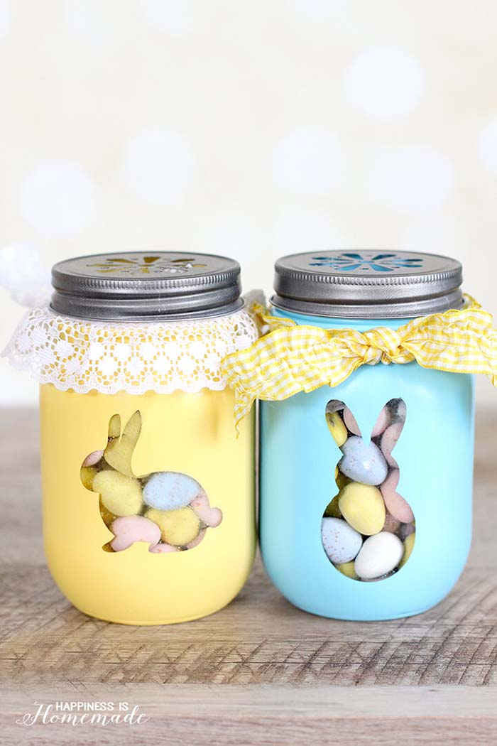Easter Bunny Treat Jars #easter #decoration #spring #diy #decorhomeideas