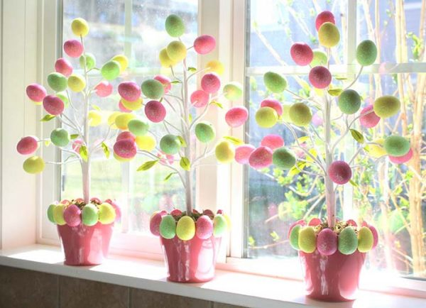 Easter Egg Trees #easter #crafts #diy #decorhomeideas