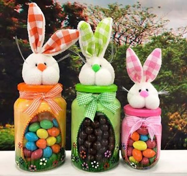 Easter Jars With Bunnies And Candies #easter #crafts #diy #decorhomeideas