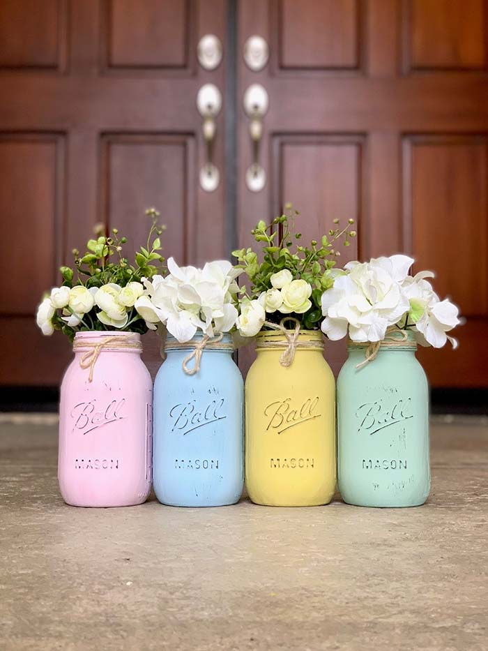 Easter Mason Jars #easter #crafts #diy #decorhomeideas