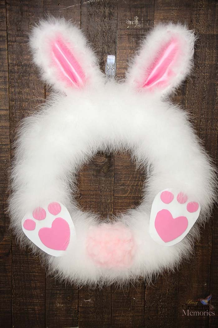Fluffy Easter Bunny Wreath #easter #crafts #diy #decorhomeideas