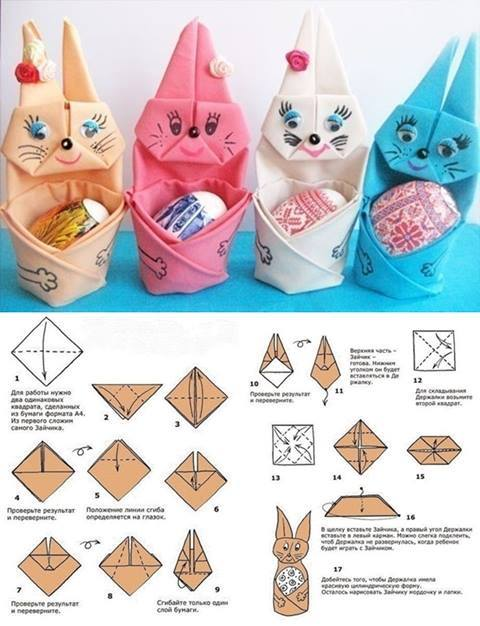 Folded Napkin Easter Bunny #easter #crafts #diy #decorhomeideas