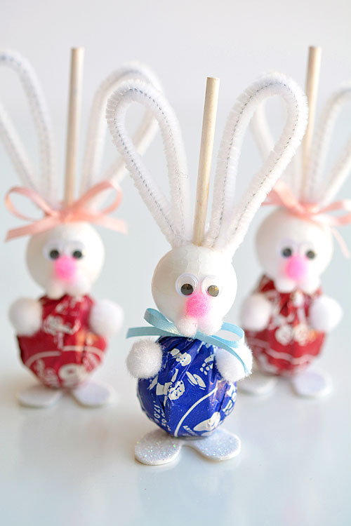 Lollipop Easter Bunnies #easter #crafts #diy #decorhomeideas