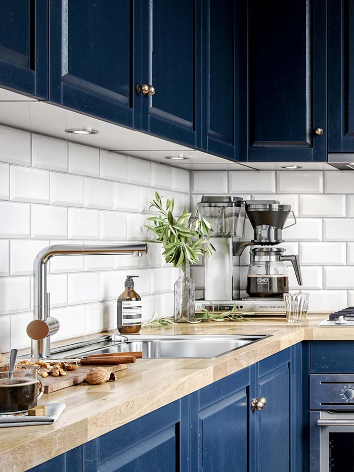Navy Blue Kitchen With Tiled Backsplash