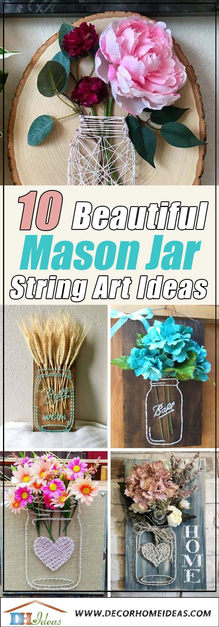 Best Mason Jar String Art Ideas #stringart #masonjar #decorhomeideas