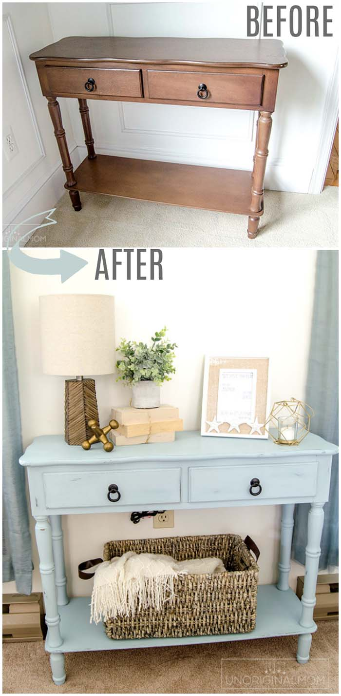 Blue Side Table Makeover #furniture #makeover #diy #decorhomeideas