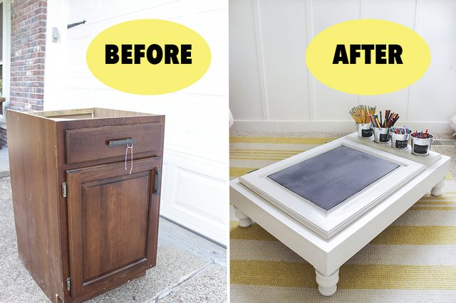 Build Kids Desk Out Of Old Cabinets #diy #furniture #makeover #repurpose #decorhomeideas