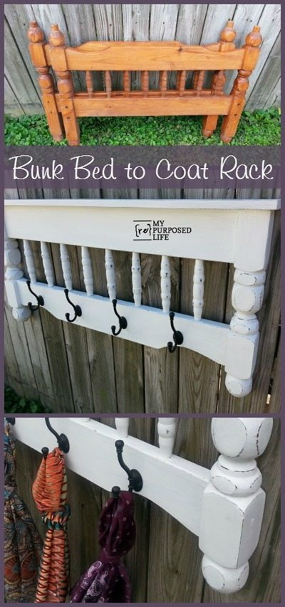 Bunk Bed To Coat Rack DIY Project #diy #furniture #makeover #repurpose #decorhomeideas