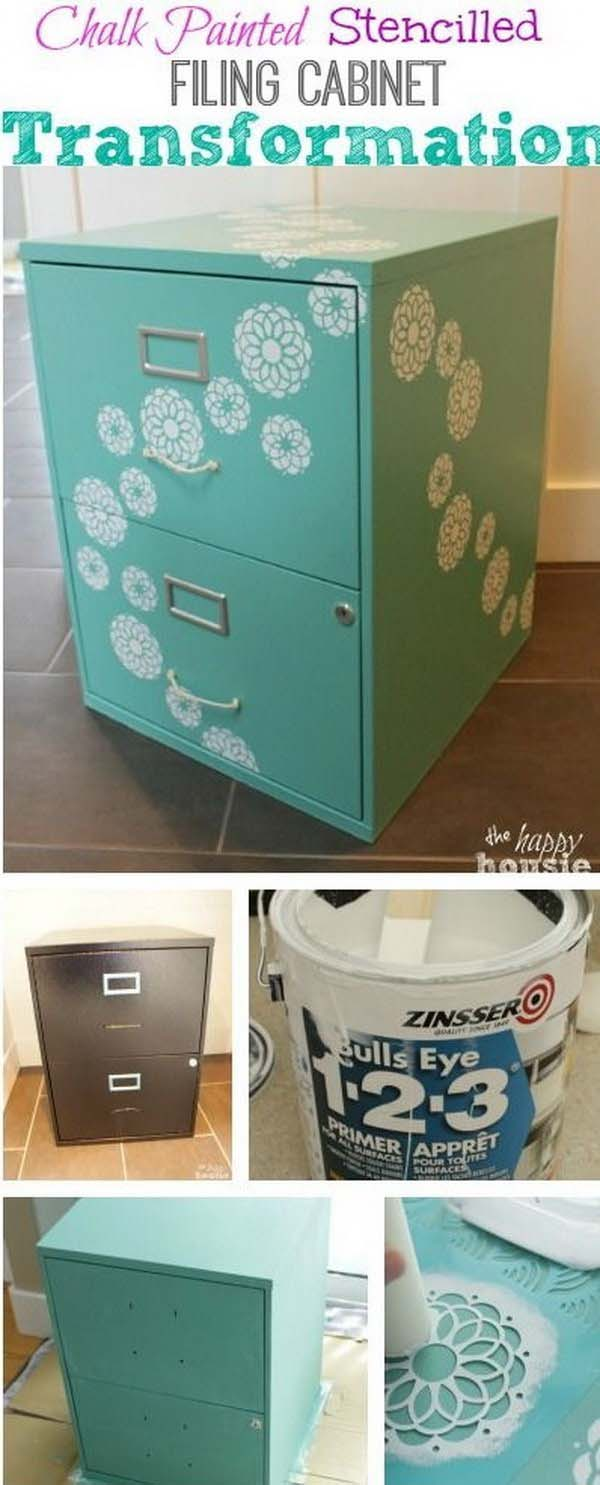 How To DIY chalk paint file cabinet #diy #furniture #makeover #repurpose #decorhomeideas