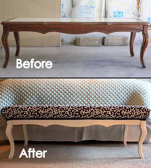 Coffee Table To Bench Makeover #furniture #makeover #decorhomeideas