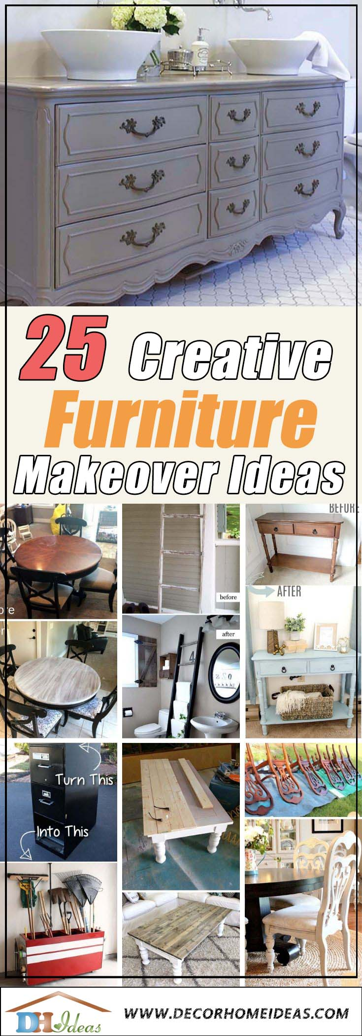 DIY Creative Furniture Makeovers #furniture #makeover #diy #decorhomeideas