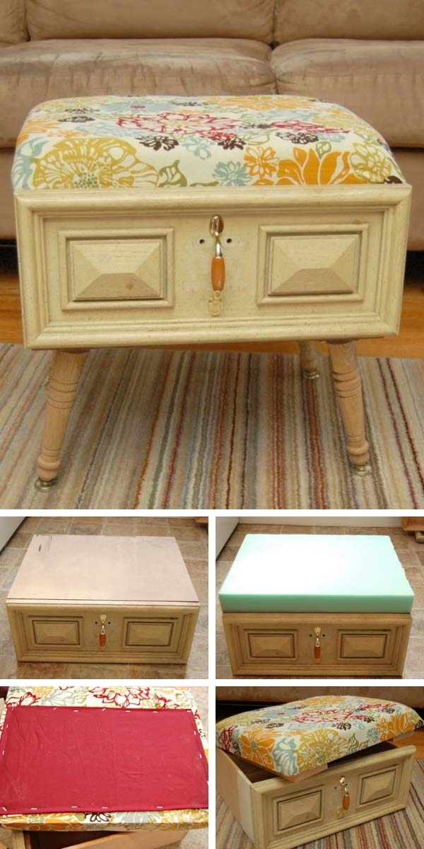 DIY Drawer Ottoman Tutorial #diy #furniture #makeover #repurpose #decorhomeideas