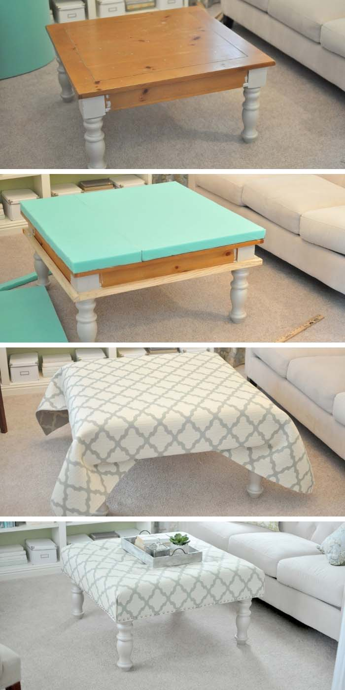 DIY Upholstered Coffee Table #diy #furniture #makeover #repurpose #decorhomeideas