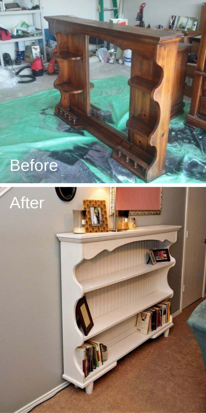 Dresser Hutch Turned To Sofa Table #furniture #makeover #decorhomeideas