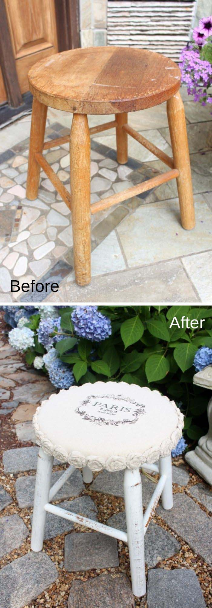 Drop Cloth Stool Makeover #furniture #makeover #diy #decorhomeideas