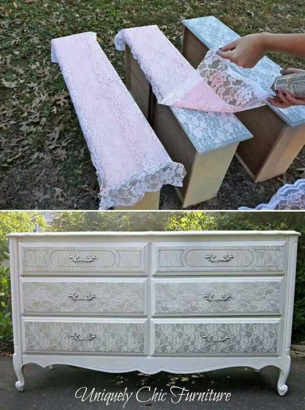 Lace Shabby Chic Dresser Makeover #furniture #makeover #diy #decorhomeideas