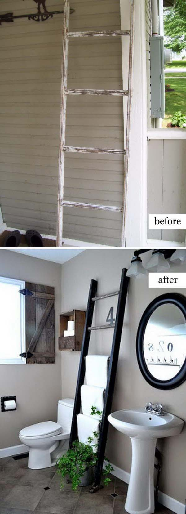 Ladder Towel Rack #furniture #makeover #diy #decorhomeideas