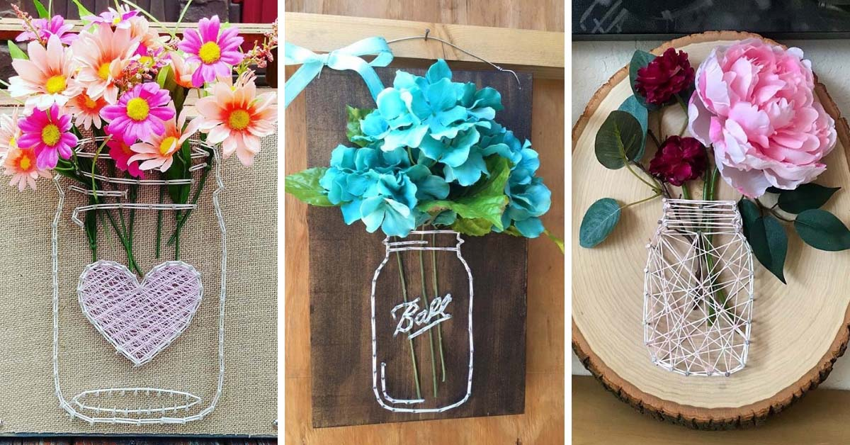 Mason Jar String Art Ideas With Step By Step Instructions