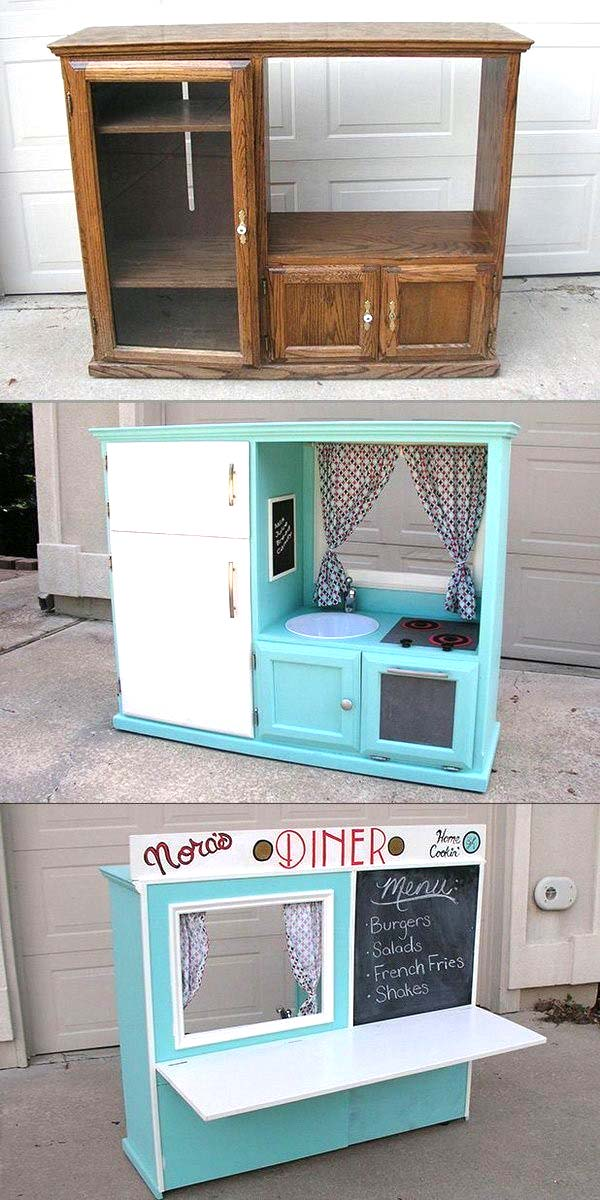 DIY Kids Kitchen from old cabinet #diy #furniture #makeover #repurpose #decorhomeideas