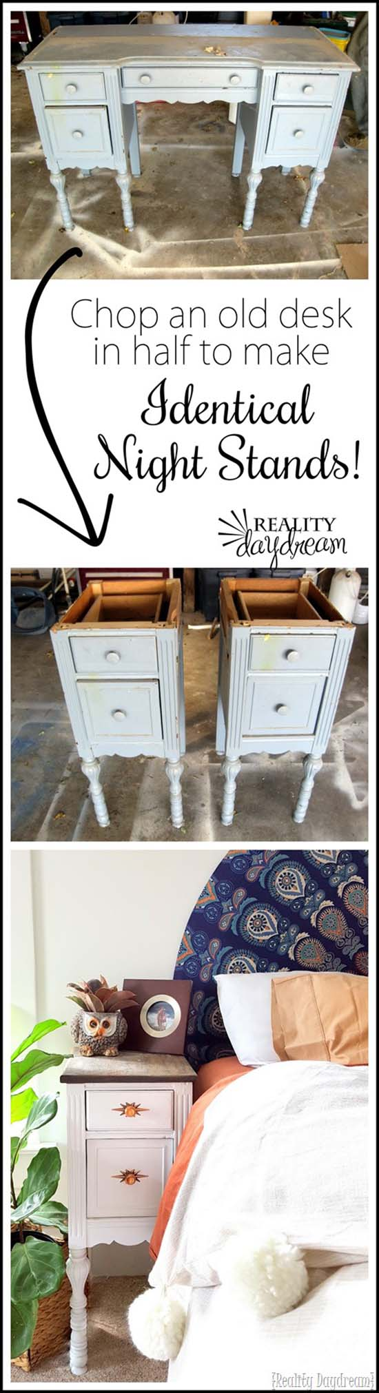 Old Desk To Night Stands Makeover #furniture #makeover #diy #decorhomeideas