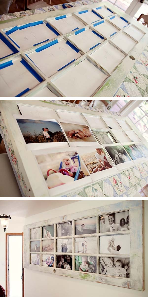 DIY Photo Frame from Old Door #diy #furniture #makeover #repurpose #decorhomeideas